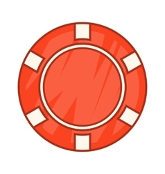 Red casino chip icon cartoon style vector