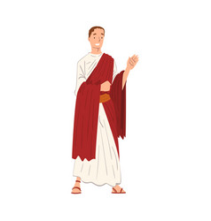 Roman emperor in traditional clothes ancient rome vector