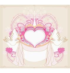 Romantic card with love birds vector