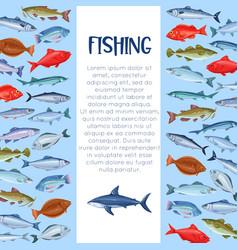Sea fishing template vector