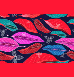 seamless bright autumn pattern leaves and bees vector image