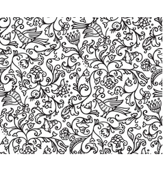 seamless floral pattern background with birds vector image