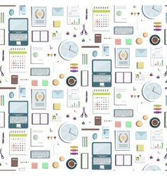 Seamless Pattern Office Supplies Flat Colored vector