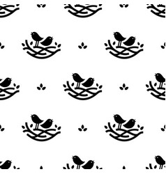seamless pattern with black singing birds in nest vector image