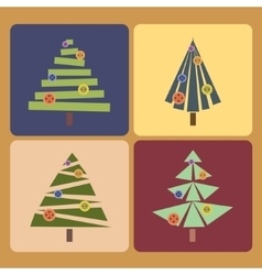 set four christmas trees vector image