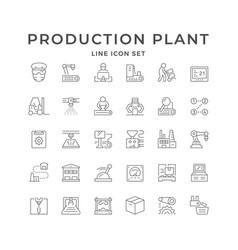 Set line icons production plant vector