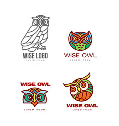 set of colorful and outlined owl logo templates vector image