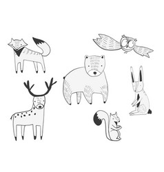 Set of cute doodle forest animals vector