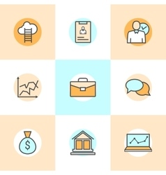 Set of flat line icons of business people vector
