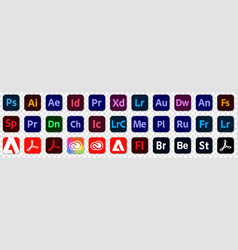 Set of icons adobe products vector