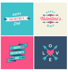 Set valentines day typographic greeting cards vector