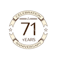 Seventy one years anniversary celebration logo vector