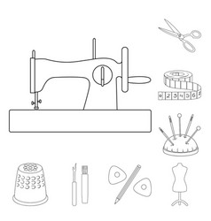 Sewing atelier outline icons in set collection vector