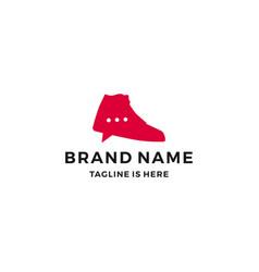 Shoe sneaker talk chat bubble logo trade social vector