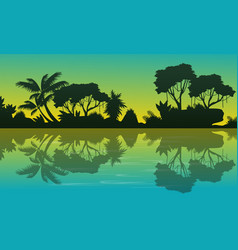 Silhouette of forest with reflection landscape vector