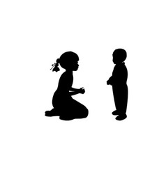 silhouette sister takes care little brother vector image