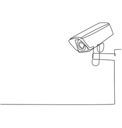 Single continuous line drawing cctv with a box vector