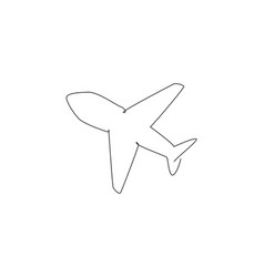 Single one line drawing flying airplane vector