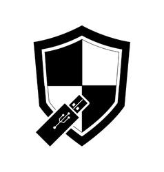 single shield and usb drive icon vector image