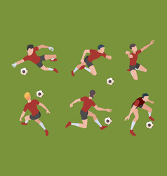 soccer players sport characters football gamers vector image