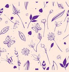 summer nature flowers leaves berries vector image