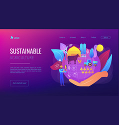 Sustainable agriculture concept landing page vector