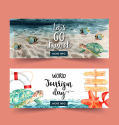 Tourism day banner design with sea wave fish vector