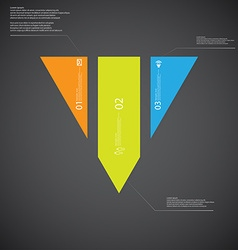 triangle template consists three color parts on vector image