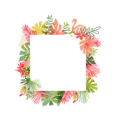 Tropical flower and flamingo bird hand drawn frame vector