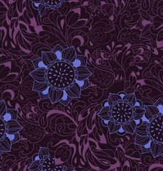 Violet pattern with bird Phoenix and sunflower vector image vector image