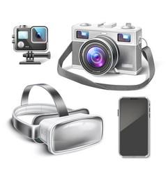 Virtual reality headset air quad drone vector