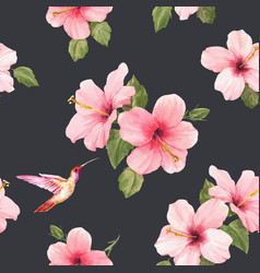 watercolor hibiscus pattern vector image
