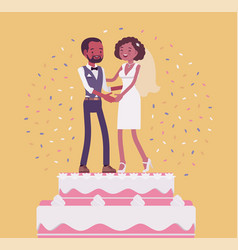 wedding cake with bride and groom on top vector image