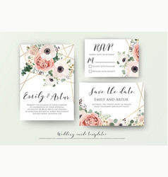 Wedding invite rsvp save date carad design vector