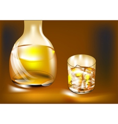 whisky bottle and glass vector image