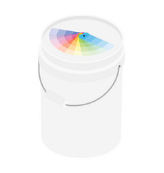 White plastic bucket color paint and color vector