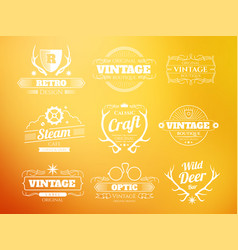 White vintage hipster logos and labels set vector