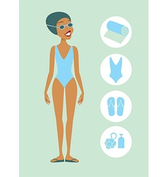 Woman ready to swim vector image