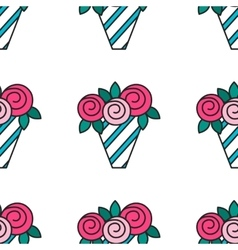 Bouquet of roses Seamless pattern with flowers on vector image