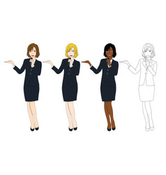 business woman with microphone presentation vector image