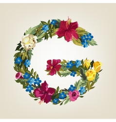 G letter Flower capital alphabet Colorful font vector image