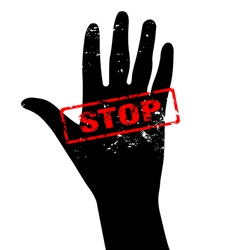 Hand raised with stop sign vector image