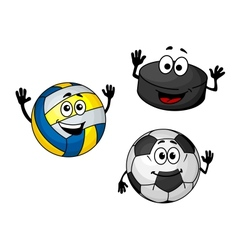 Hockey puck volleyball and soccer balls vector image vector image