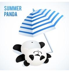 Little cute panda taking sunbath under blue vector image