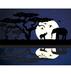 mother elephant and baby elephant in africa vector image
