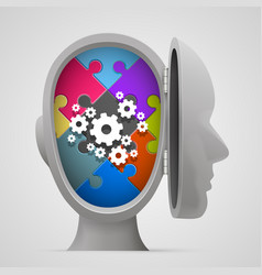 Puzzle and gears in the open head vector