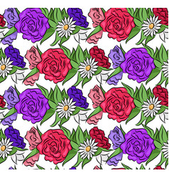 seamless floral texture with flowers vector image