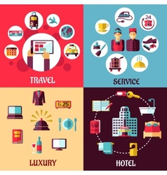 Travel and hotel services flat concept vector image