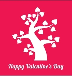 Valentines day tree with hearts icons vector image vector image