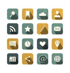 Vintage social media icons set vector image